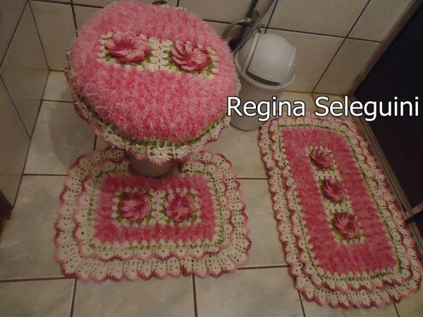Jogo de banheiro  Regina Seleguini Artesanatos -> Jogo Pia De Banheiro