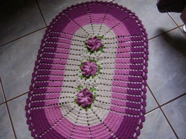 Kit Para Banheiro Artesanato ~ Tapete de Croch u00ea 002 Regina Seleguini Artesanatos