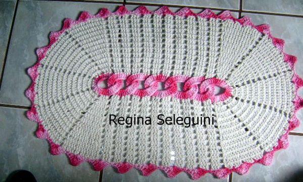 Tapete Oval De Cr ~ Tapete Oval rosa Regina Seleguini Artesanatos